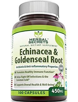 echinacea goldenseal: Echinacea Goldenseal Root- 500 Capsules by Herbal Secrets